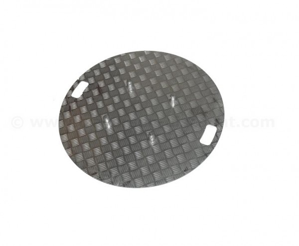 Bodenplatte rund geriffeltes unbehandeltes Aluminium passend für Truss T290 und T220, Durchmesser 80