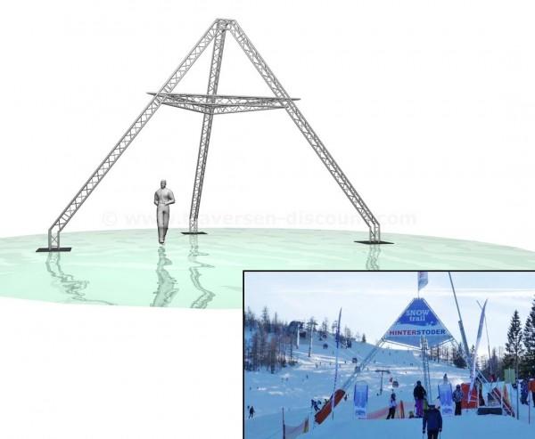 Traversen Sonderkonstruktion Pyramide mit einer Höhe von ca. 6m aus T290-3