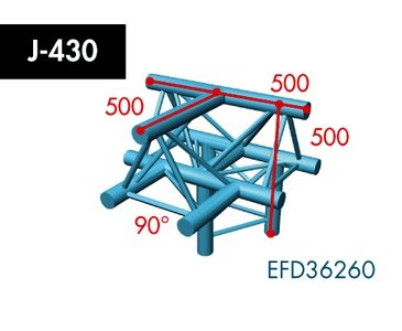 Dreipunkt Traverse X3K-30, 4-Weg T-Stück, Winkel 90°, Spitze oben, horizontal