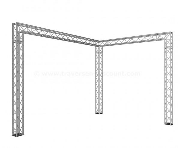 Messebau in L-Form mit Deco Truss T220-4, Standgrösse 4x3x3m