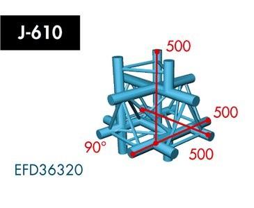 Dreipunkt Traverse X3K-30, 6-Weg Kreuz, Winkel 90°, Spitze oben, Abgang unten/oben