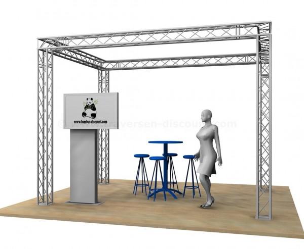 Messe Stand Design Viereck mit 4x3x3m aus 4Punkt Decotruss