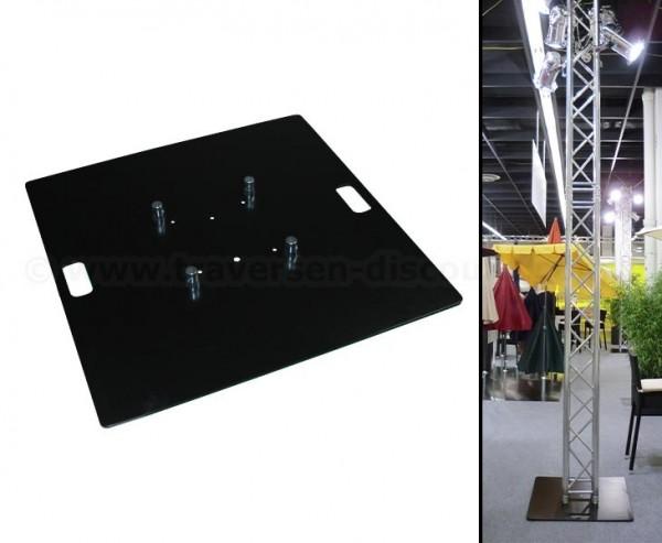 Bodenplatte Stahl schwarz beschichtet mit 80x80x0,8cm, für Traversen T290 und T220