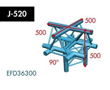 Dreipunkt Traverse X3K-30, 5-Weg Kreuz, Winkel 90°, Spitze oben, Abgang unten