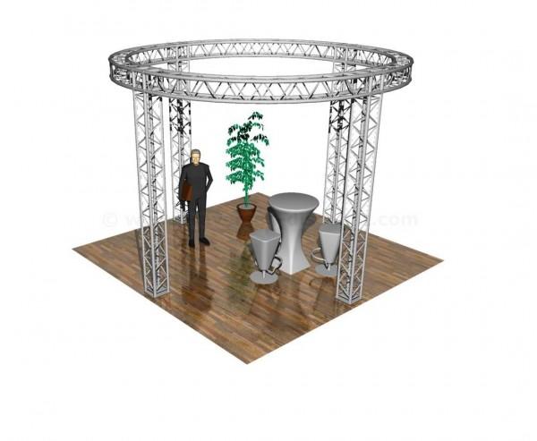 """Messestand, """"Rundstand"""", Grundfläche 4,3x4,3m, Höhe ca. 3m, mit 4Punkt Traversen"""
