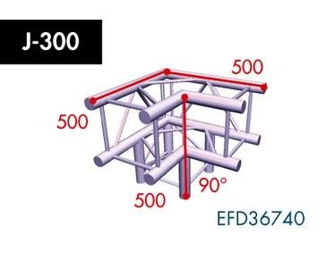 Vierpunkt Traverse X4K-30, 3-Weg Ecke, Winkel 90°, Abgang unten