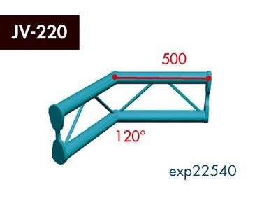 Zweipunkt Traversen X2K-30, 2-Weg Ecke, Winkel 120°, vertikal