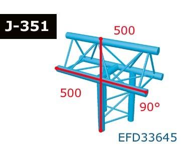 Dreipunkt Traverse X3K-30, 3-Weg T-Stück, Winkel 90°, Spitze oben, vertikal