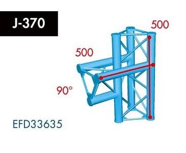 Dreipunkt Traverse X3K-30, 3-Weg T-Stück, Winkel 90°,Spitze innen, vertikal