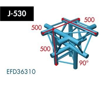 Dreipunkt Traverse X3K-30, 5-Weg Kreuz, Winkel 90°, Spitze unten, Abgang unten