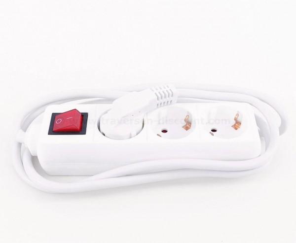 Steckdosenleiste 3fach Stromverteiler weiß mit Schalter und Kabel