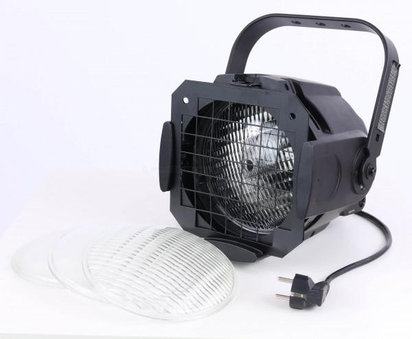 Scheinwerfer für Messestand Beleuchtung schwarz mit 600W Halogen, incl. 4 Linsen