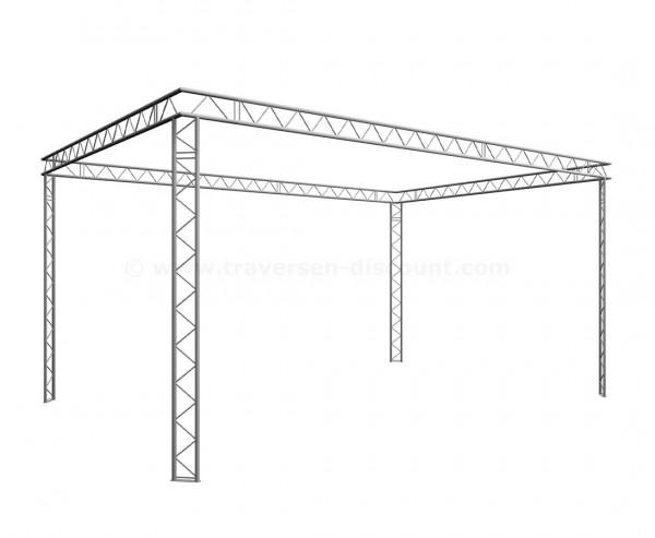 Kopf Messestand viereck geschlossen mit 4x6x3m aus 2Punkt Decotruss