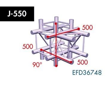 Vierpunkt Traverse X4K-30, 5-Weg Kreuz, Winkel 90°, Abgang unten