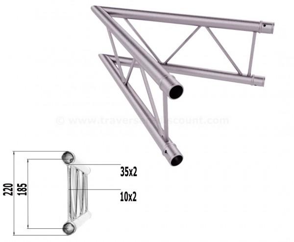 Alu Traversen 2-Punkt T220-2 2-Wege Eck 45° vertikal C19V, Alu System Trussing