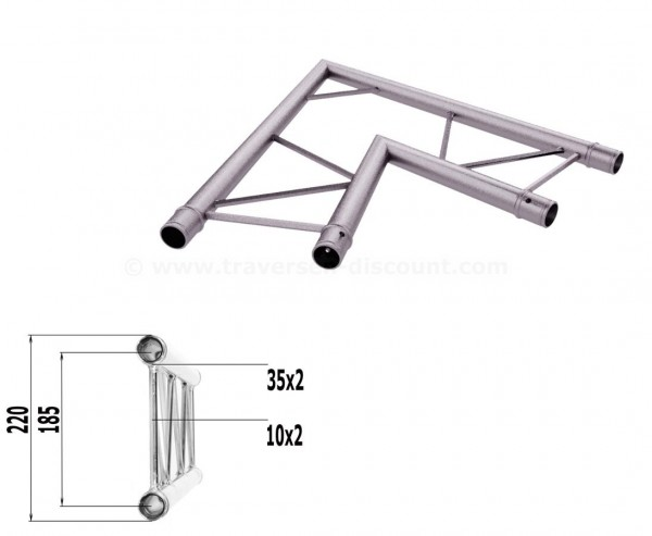 Alu Traversen 2-Punkt T220-2 2-Wege Eck 60° horizontal C20H, Alu System Trussing