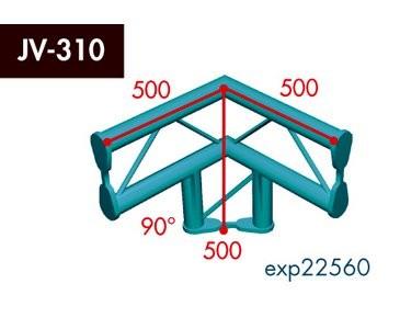 Zweipunkt Traversen X2K-30, 3-Weg Ecke, Winkel 90°, vertikal