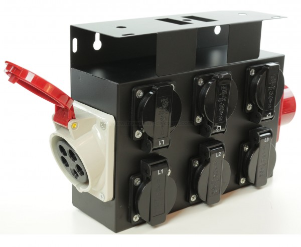 Stromverteiler für Traversen und Messebau 16A CEE auf 6mal Schutzkontaktdosen