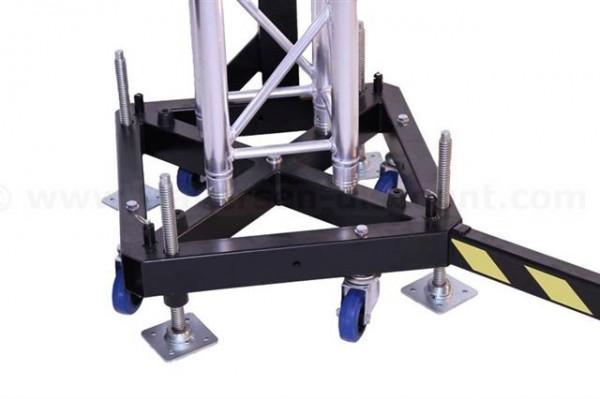 Basement für Traversen Tower, Bodenplatte aus Stahl mit Rollen und Spindelfüße