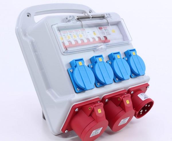 Messe Stromverteiler 32A im Kunststoffgehäuse mit CEE Abgänge sowie Schuko Dosen und Sicherungen