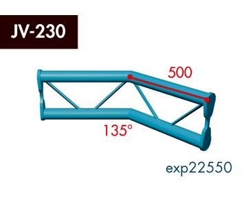 Zweipunkt Traversen X2K-30, 2-Weg Ecke, Winkel 135°, vertikal