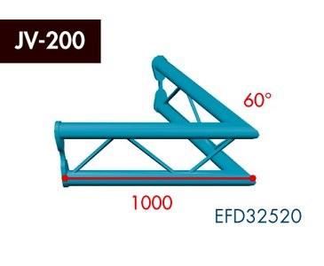 Zweipunkt Traversen X2K-30, 2-Weg Ecke, Winkel 60°, vertikal