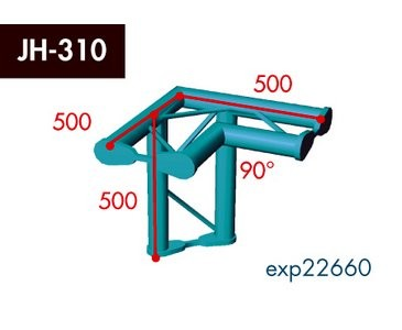 Zweipunkt Traversen X2K-30, 3-Weg Ecke, Winkel 90°, horizontal