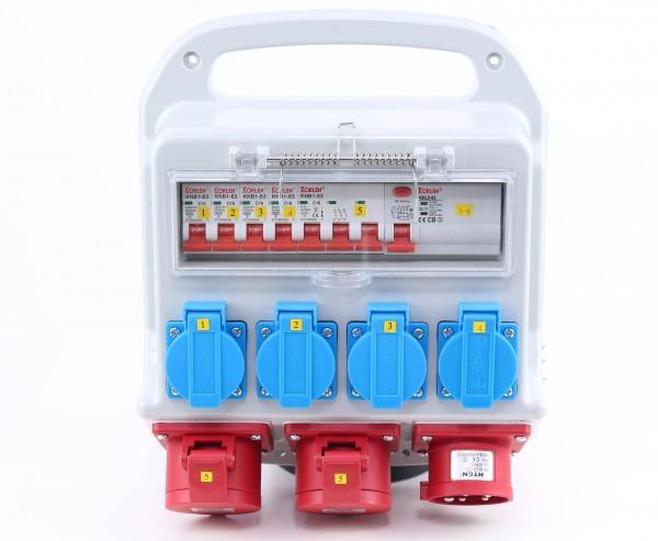 Messe Stromverteiler 16A im Kunststoffgehäuse mit CEE Abgänge sowie Schuko Dosen und Sicherungen