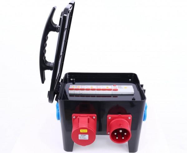Messe Stromverteiler Würfel 16A CEE mit Sicherungen und CEE sowie Schuko Abgängen, IP44