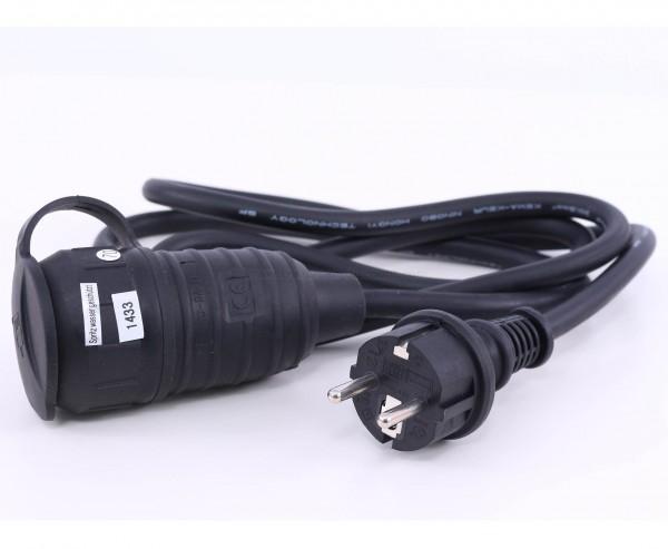 Stromkabel 1,5m mit 3x1,5mm² Leitung, Stecker und Kupplung mit Deckel montiert