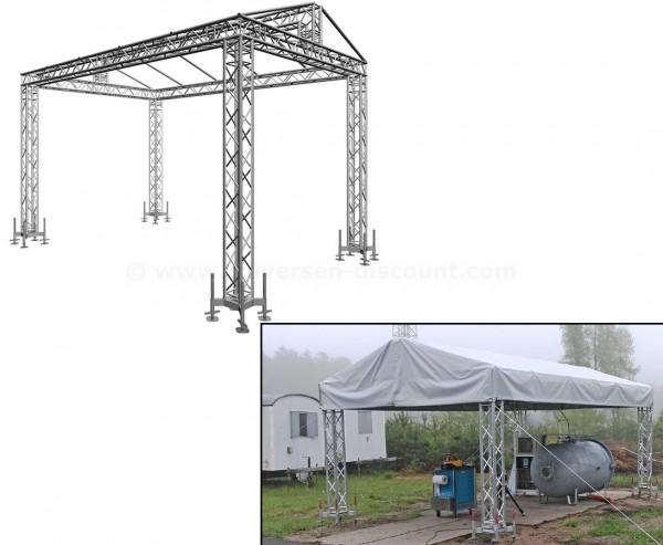 Giebeldach aus Traversen mit Dachplane ca. 4x6m und einer Höhe von ca. 4,2m