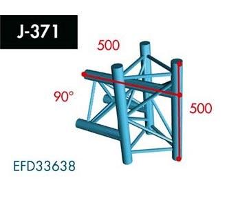 Dreipunkt Traverse X3K-30, 3-Weg T-Stück, Winkel 90°,Spitze außen, vertikal