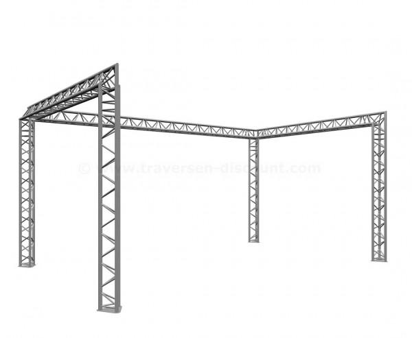 """Messestand aus Traversen T290-3 in """"U"""" Form mit 4x6x4m, und einer Höhe von 3m"""