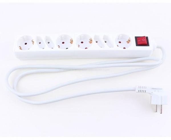 Steckdosenleiste 8fach Stromverteiler weiß mit Schalter und Kabel