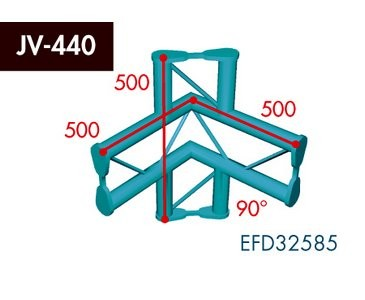Zweipunkt Traversen X2K-30, 4-Weg Ecke, Winkel 90°, vertikal