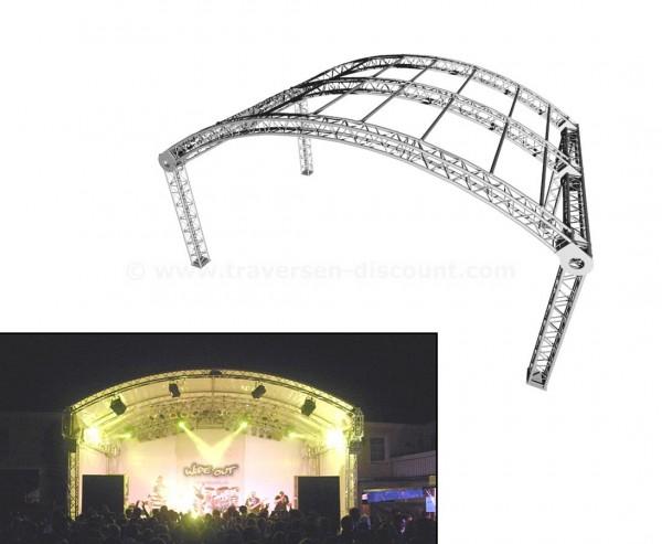 Rundbogendach aus Traversen mit Dachplane ca. 7,3x4,9m und einer Höhe von 4,9m