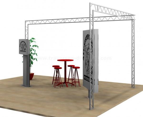 Messe Stand in L Form mit 6x4x3m, aus 2Punkt Deco Truss T220-2