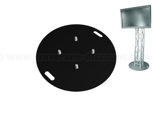 Bodenplatte aus Stahl schwarz beschichtet mit einem Durchmesser von 80cm, Materialstärke 0,8cm für T
