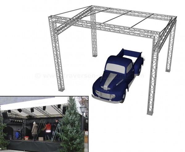 Traversen Pultdach mit Dachplane 6x5m und einer Höhe von 4,9m