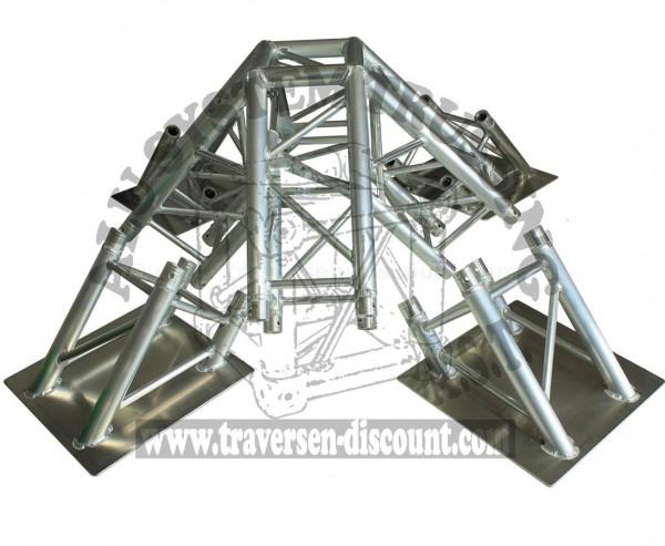 Messestand Traversen T290-4 Pyramiden Set 90° mit Spitze und 4 Bodenplatten, Alu System Trussing AST