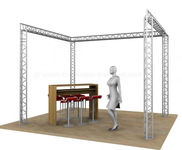 Standbau aus 3 Punkt Deco Truss T220-3 für U Messenstand mit 3x4x3m