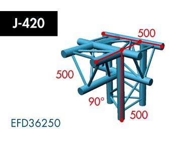 Dreipunkt Traverse X3K-30, 4-Weg T-Stück, Winkel 90°, Spitze unten, horizontal