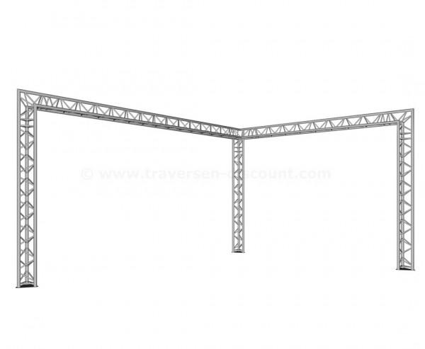 """Mobiler Messe Stand in """"L"""" Form mit 6x4x3m, gebaut aus 3-Punkt Traversen T290-3"""