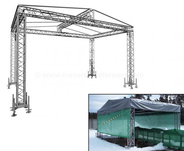 Satteldach aus Traversen mit Dachplane ca. 6,5x4m und einer Höhe von ca. 4,2m