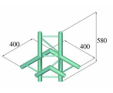 Alu System Trussing AST, Traverse 2 Punkt, Deco Truss, Kantenmaß 22cm, 4 Wege Eck 90° horizontal
