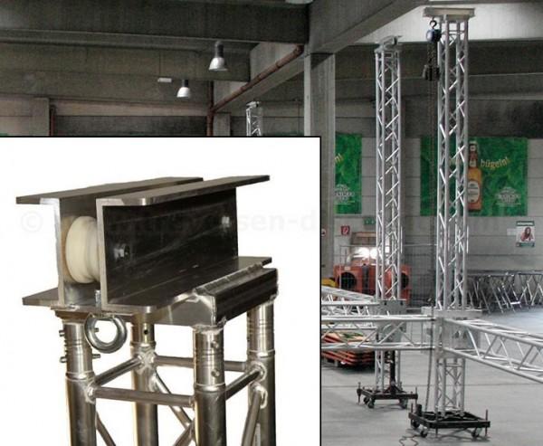 Topteil Headsection für Truss Tower mit Umlenkrollen und Ringmutter