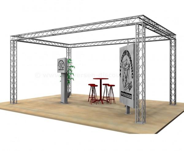 Kopf Messestand Design im Viereck mit 4x6x3m aus 4Punkt Deco Truss