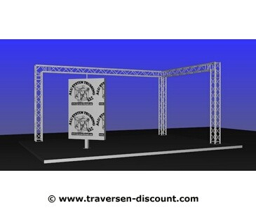 Messestand mieten für München, Traversenkonstruktion in L Form mit 6x4x3m